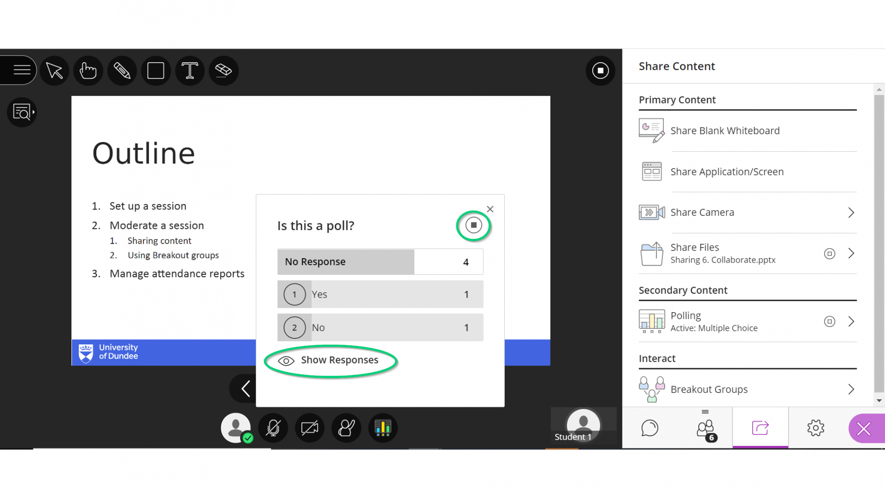 Image of poll in collaborate session