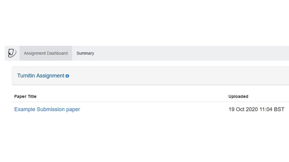 Screenshot of Turnitin Submission Inbox with student submission present