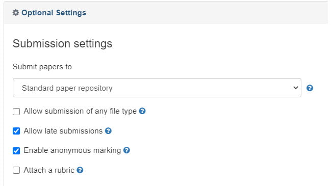 Screenshot of assignment settings in Turnitin with 'Allow Late submissions' and 'enable anonymous marking' selected