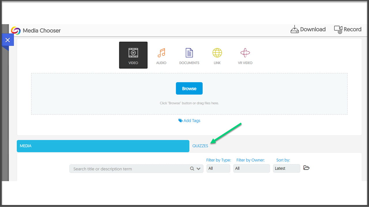 Screenshot of the embed media page in YuJa with an arrow pointing to the Quizzes tab