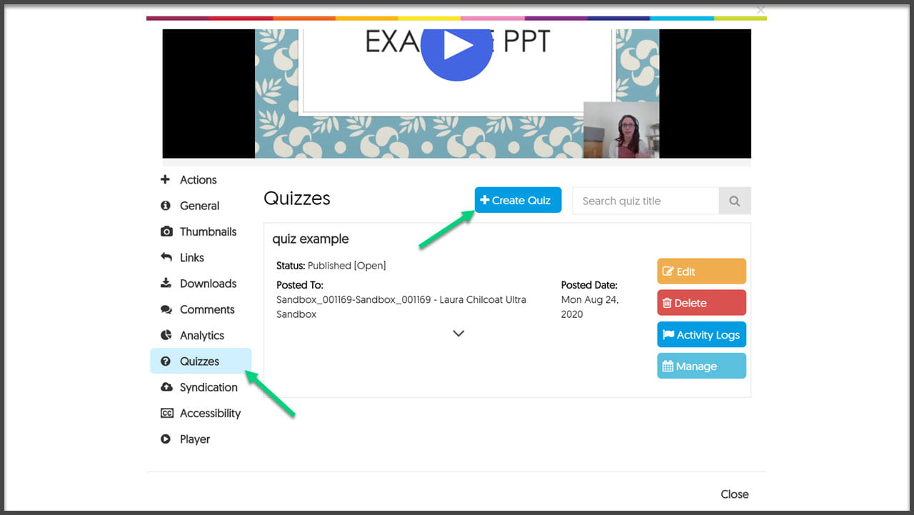 Screenshot of YuJa video with arrow point to Quiz tab and Create Quiz