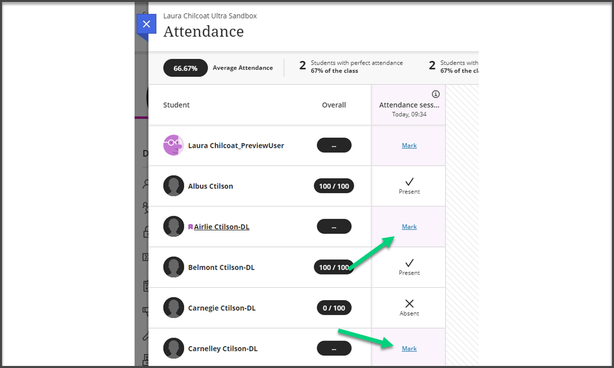 Screenshot of attendance area in My Dundee with unmarked items from a Collaborate session highlighted