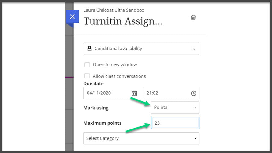 Screenshot of the edit window with arrows pointing to the 'Mark using' option and the 'Maximum points' text box
