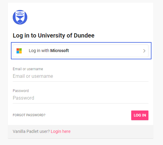 """Padlet log in screen with """"Log in with Microsoft"""" button highlighted"""