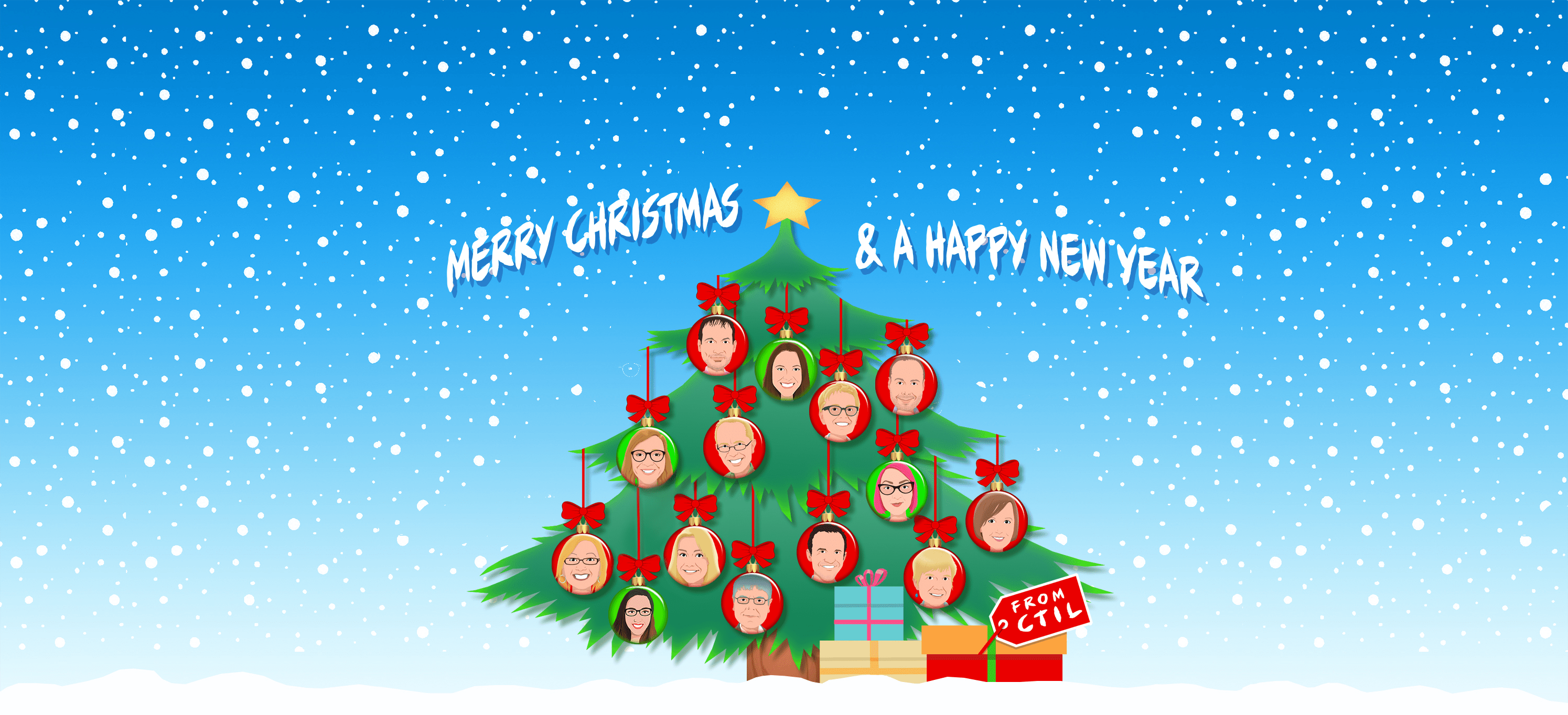 Christmas tree decorated with CTIL team baubles.  Merry Christmas & a Happy New Year.