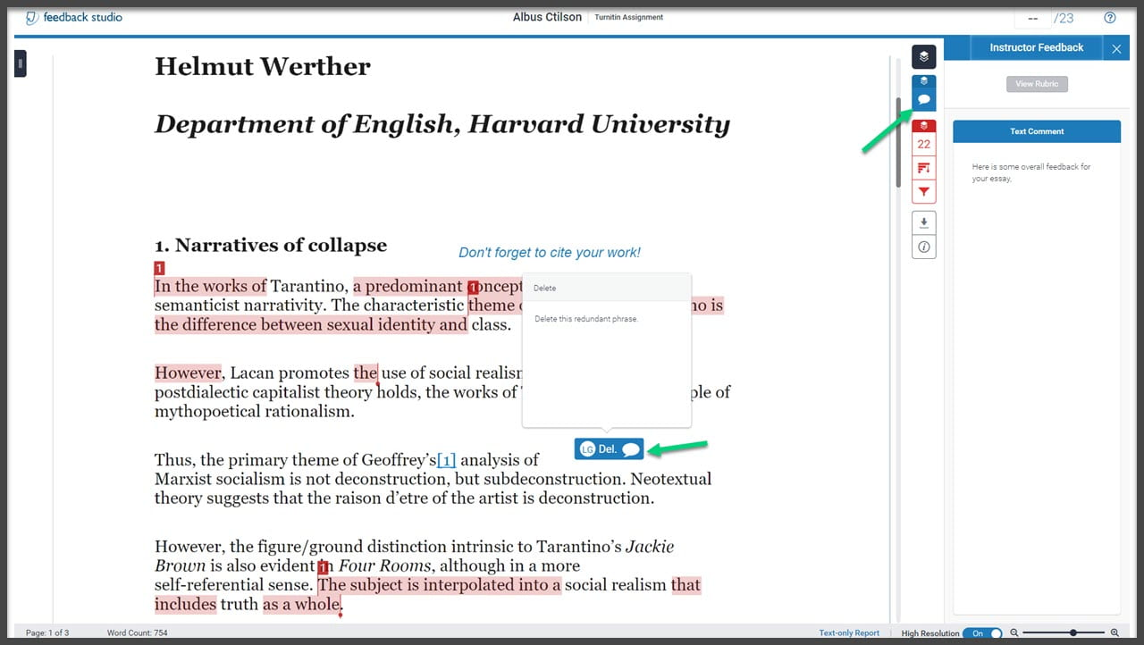 Student submission with arrows pointing at open Quickmark comment and overall Feedback panel.