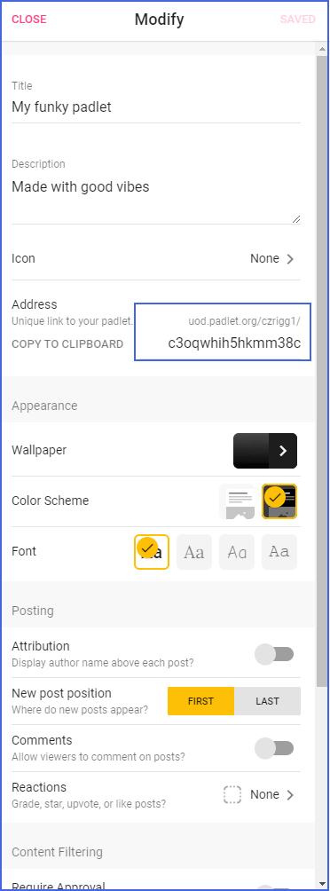 Padlet Modify menu with URL highlighted