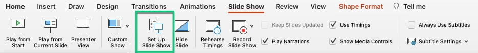 Select Slide show menu item, then Set up slide show