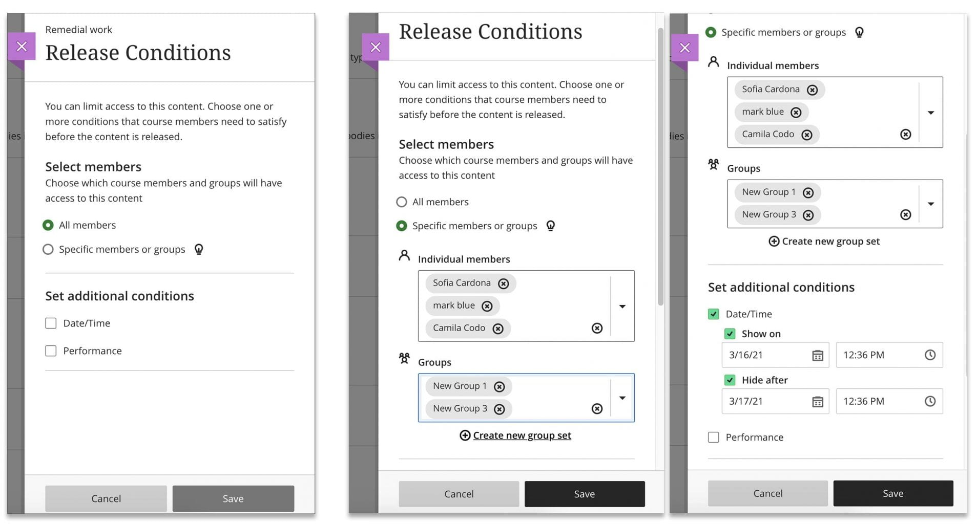 Adaptive release set up showing how you can assign to groups
