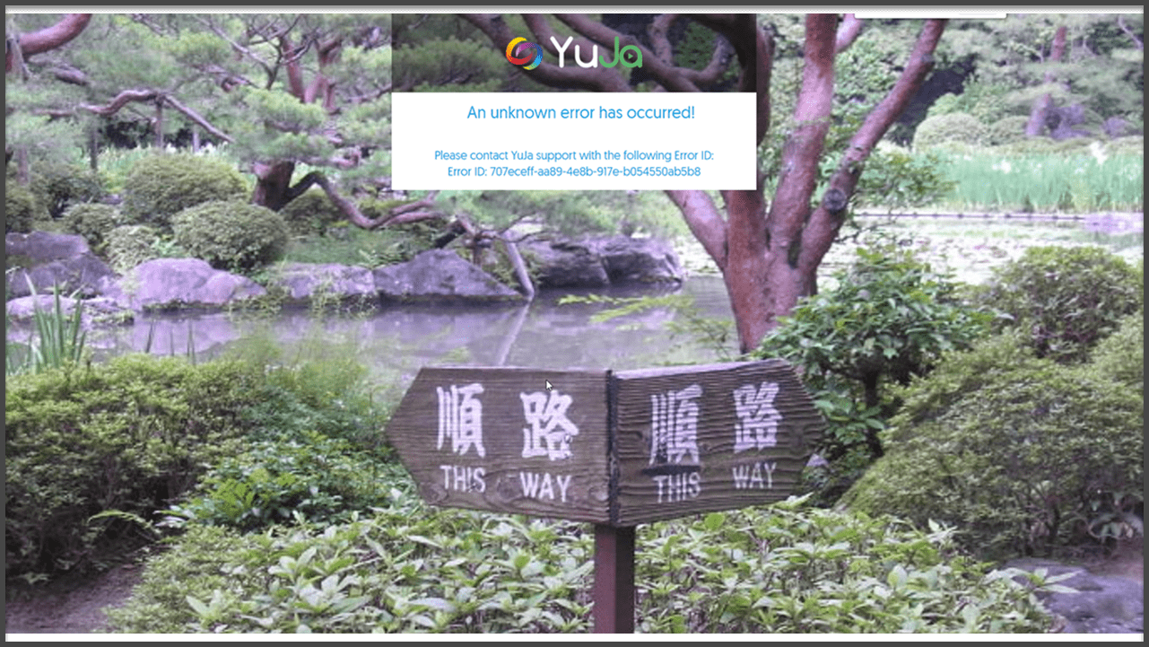 Screenshot of error screen when trying to log into YuJa using Single Sign On