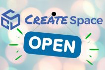 CreateSpace logo with open sign hanging from the text