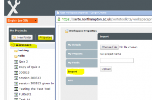 screen shot of the import of the template