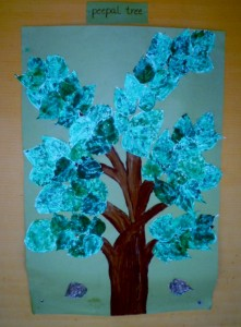 This collage communicates the characteristics of a peepal tree every bit as well as I could do in words