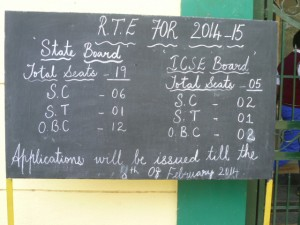Blackboard outside of school in Jayanagar, Bangalore inviting applicants for pupils from marginalised groups under the RTE