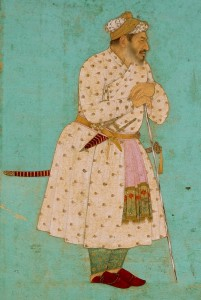 Hashim. Khan Dawran in a White and Gold Jama and Turban, Leaning on a Staff, ca. 1650, Chester Beatty Library, Dublin.