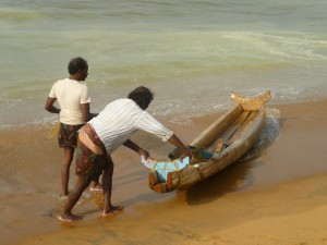"Keralite fisherman launching their boat for another night at sea. A dangerous occupation requiring skills, knowledge and understanding beyond mere ""educated men""."