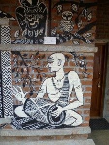 This painting on a wall at The Valley School near Bangalore was created by an Adavasi artist