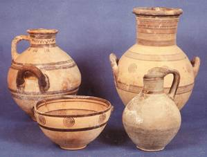 Pottery  such as this in the Archaeological Museum of Paphos from the  8th century B.C. has been produced in Cyprus for Millennia. The tradition of hand built pottery continues to this day.