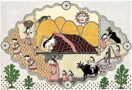 This illustration from Hope is a Girl Selling Fruit has been developed by Amrita Das from the traditional Mithila painting of her home state.