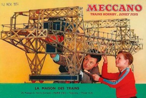 This 1954 Mecanno set shows French learners from two generations achieving engineering wonders with Meccanno