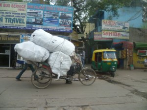 All kinds of goods are delivered on bicycles around Bangalore