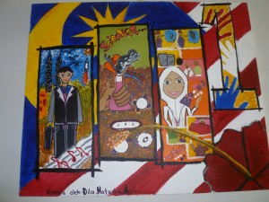 Children's art work often depicts their experiences and interests, such as this student's images of school life from Malaysia. However, in some cases they have become a powerful therapeutic tool.
