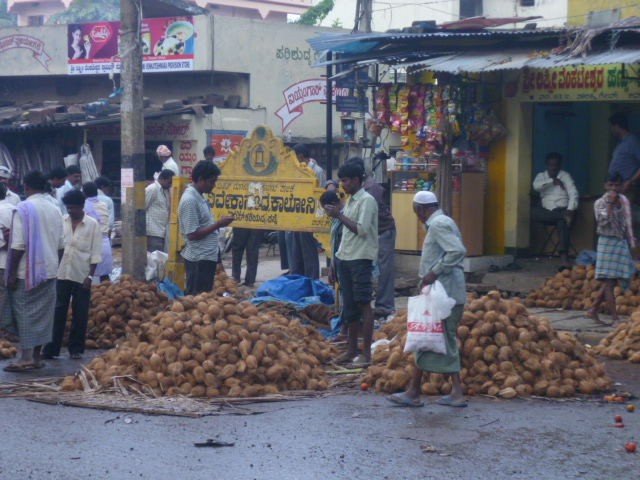 Coconut vendors on the streets of Jayanagar. Bangalorians must have been involved in such activities for centuries. Will scenes such as this still be a feature of the city twenty years from now?