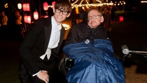 The actor Eddoe Redmayne with the great mathematician Stephen Hawking who he so eloquently portrays on film.