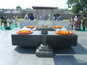 Raj ghat Samadhi the memorial in Delhi that marks the spot of Mahatma Gandhi's cremation. A moving place where respectful crowds stand in silence.