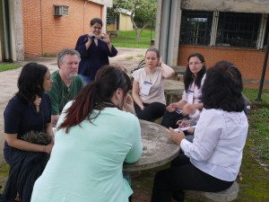 Active learning. An enthusiastic group able to learn together outside on a warm Brazilian day.