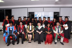 A proud group of new MA graduateswith tutors and representatives of the University of Northampton