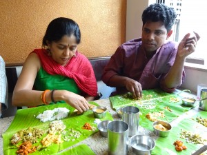 Jayashree and Johnson made short work of devouring an excellent Thali. An excellent way to conclude a morning following the concert.