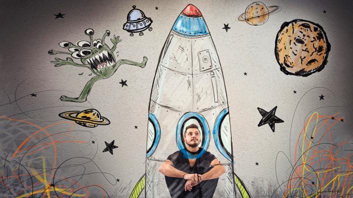 man in a rocket