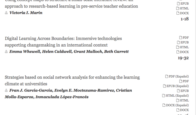 screen shot of journal contents page