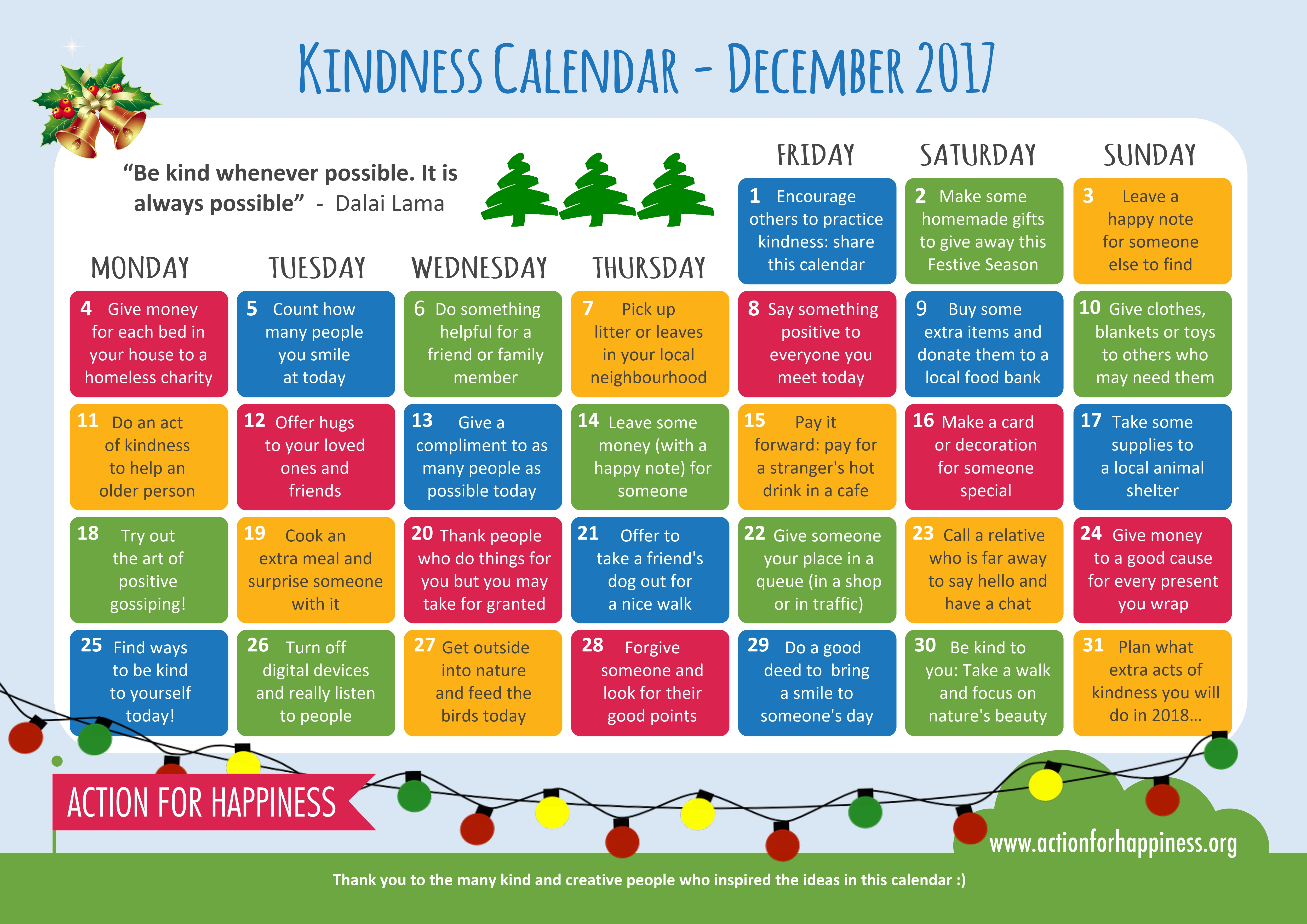 Action For Happiness Kindness Calendar February 2020 teacher | A blog for students on the FDLT at the University of