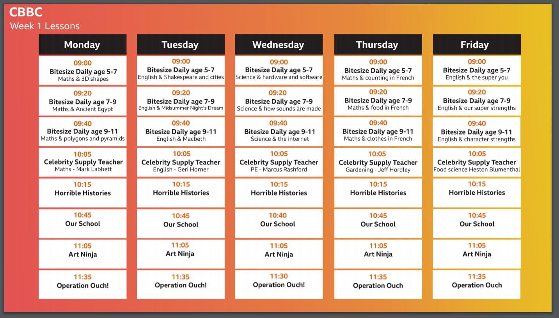 BBC schools timetable
