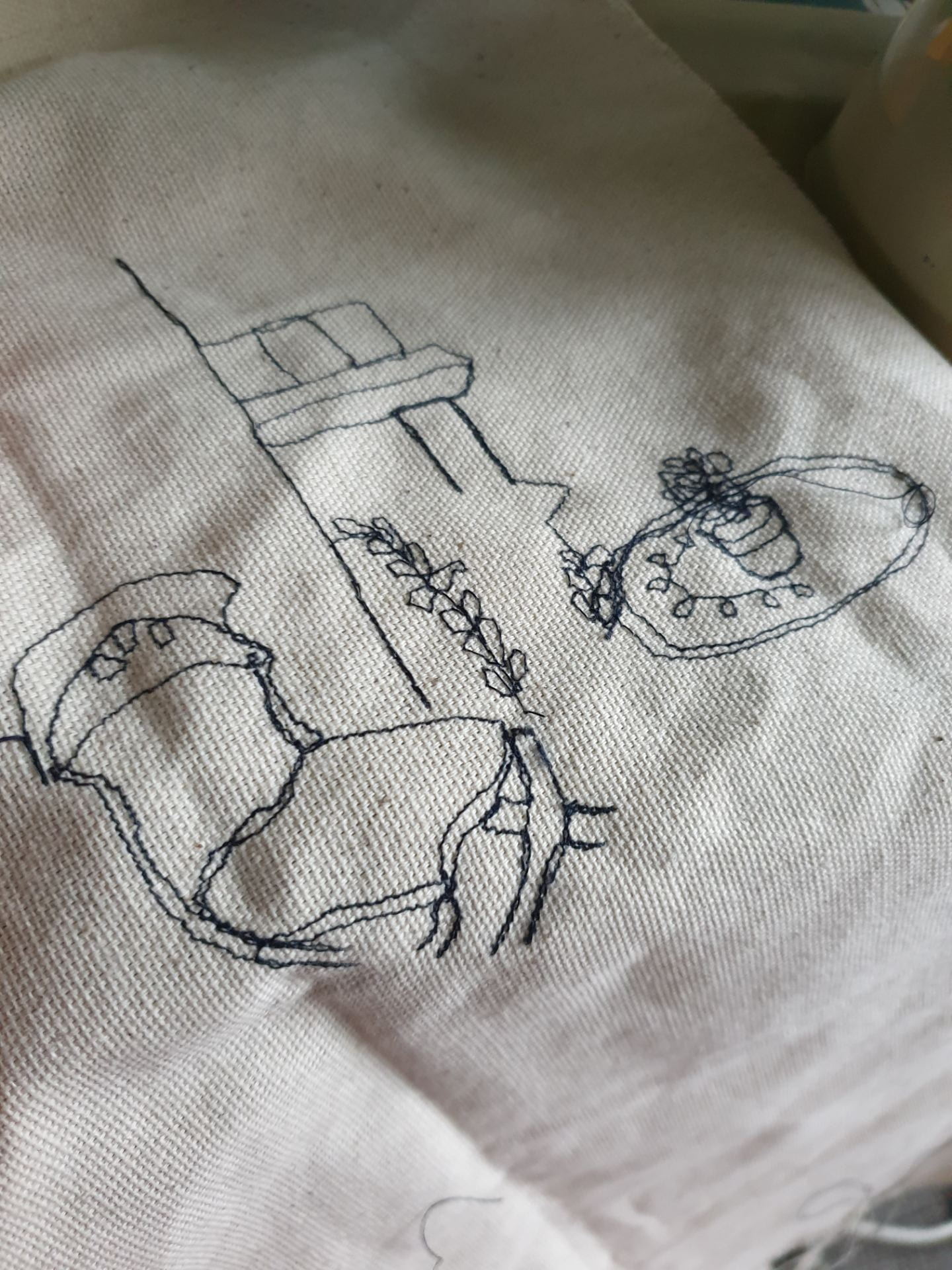 Embroidery of chair and table