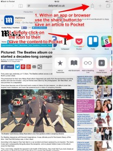 Saving content to Pocket - 1 and 2