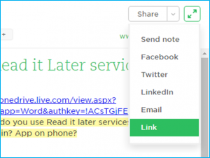 Evernote screenshot of share button