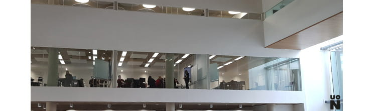 View of teaching rooms in the Learning Hub, Waterside Campus, UoN