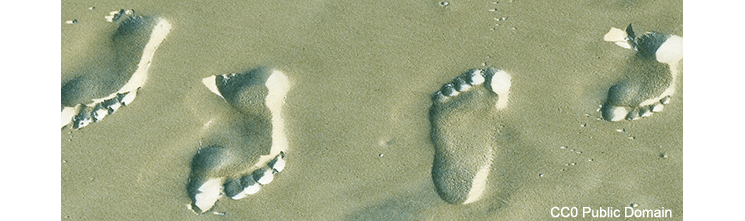 Digital photo of footprints in sand - (CC0 Public Domain)