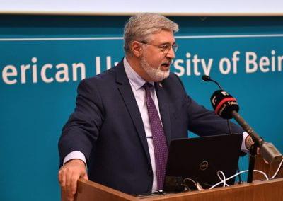 Dr. Fadlo Khuri, president of the American University of Beirut giving a speech.