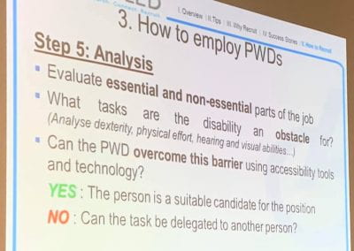 Slide on How to employ PWDs mentioning if accessibility tools and technology can help overcome the barrier