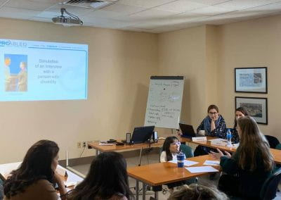 Simulation of an interview with a person with disability (Chimene Hadshity from ProAbled and Silvia Ekzarkova from AUB Office of student Affairs Career Services Department)