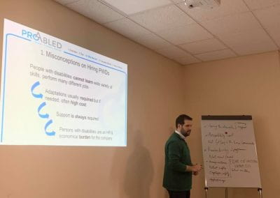 Samer Sfeir facilitating the workshop, a slide about misconceptions