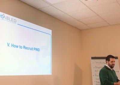 Samer Sfeir facilitating the workshop, slide on how to recruit PWDs