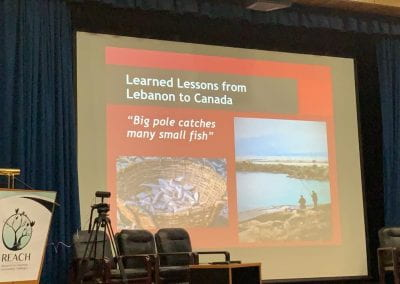 Dr. Ken Reimer highlighting the learned lessons from Canada to Lebanon