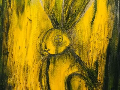 Acrylic, pencil and collage of a rabbit like creature