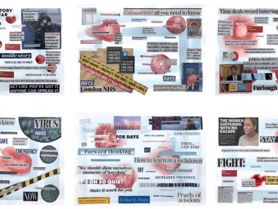 Collage with newspaper headlines