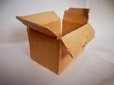 Cardboard box made of clay